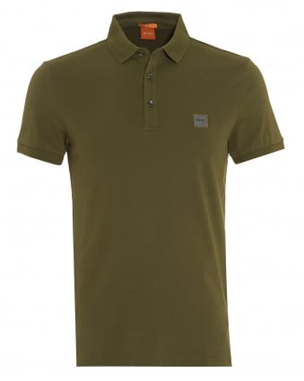 Mens Pavlik Polo Shirt, Olive Green Slim Fit Logo Polo