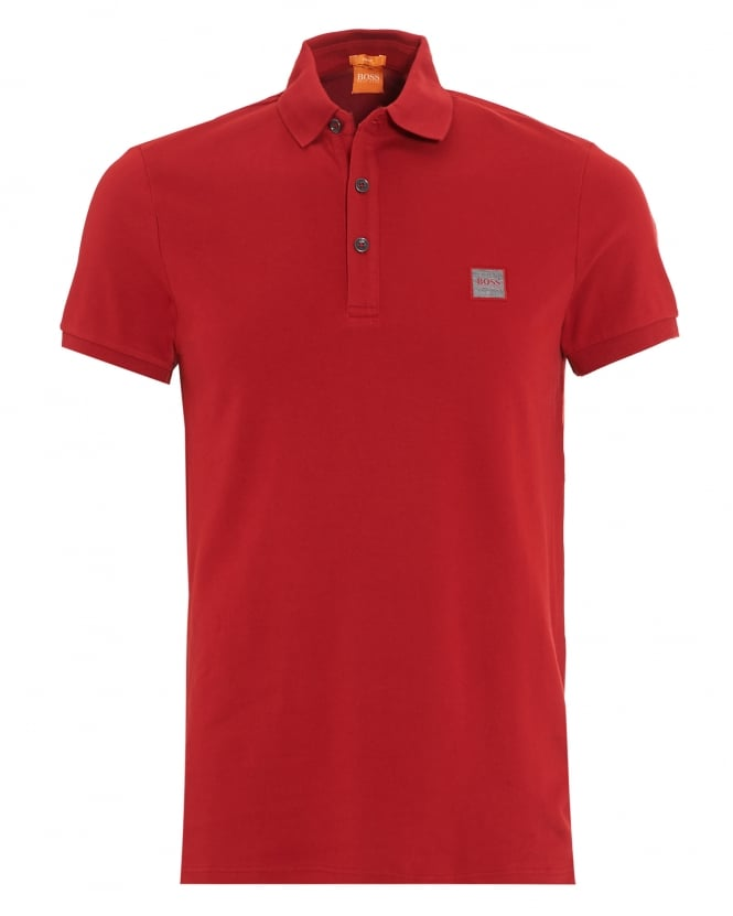 Hugo Boss Orange Mens Pavlik Polo Shirt, Red Slim Fit Logo Polo