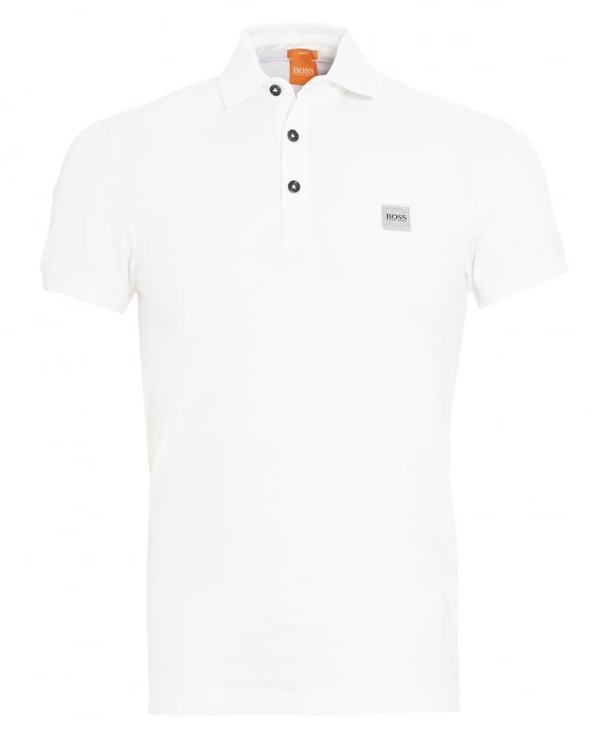 Hugo Boss Orange Mens Pavlik Polo Shirt, White Slim Fit Logo Polo