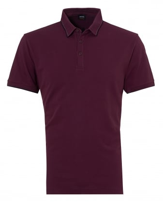 Mens Payout Polo, Burgundy Stitched Polo Shirt