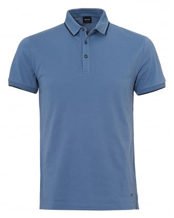 Mens Payout Polo, Sky Blue Stitched Polo Shirt