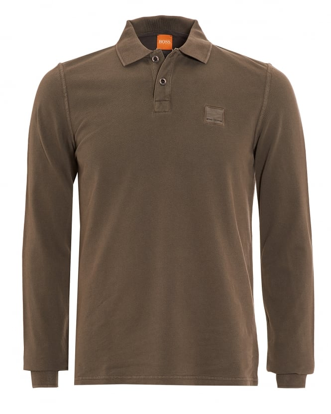 Hugo Boss Orange Mens Phlash Khaki Green Long Sleeve Logo Polo Shirt