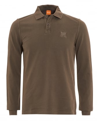 Mens Phlash Khaki Green Long Sleeve Logo Polo Shirt