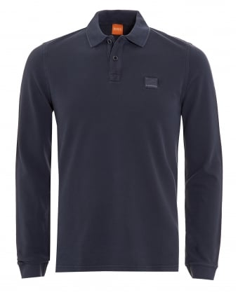 Mens Phlash Navy Blue Long Sleeve Logo Polo Shirt