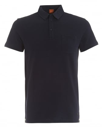 Mens Plainer Polo, Chest Pocket Navy Blue Polo Shirt