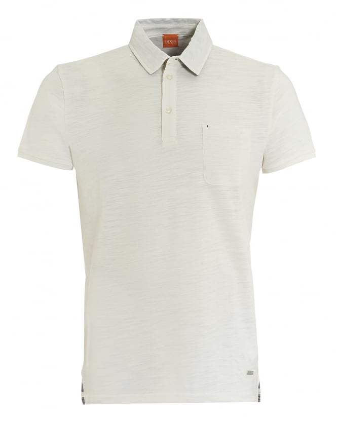 Hugo Boss Orange Mens Plainer Polo, Chest Pocket White Polo Shirt