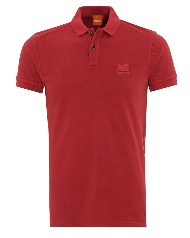Hugo Boss Orange Mens Polo Shirt Pascha Slim Fit Red Polo