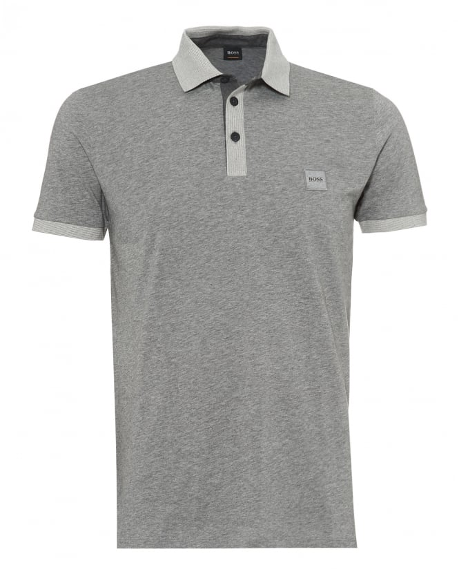 BOSS Casual Mens Pother Polo Shirt, Contrast Detail Grey Polo