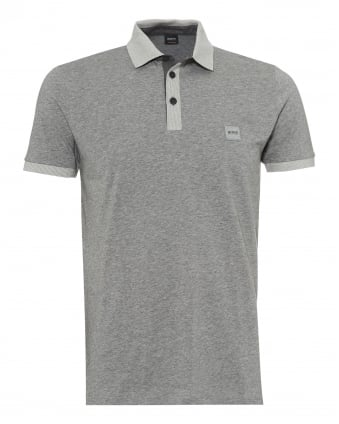 Mens Pother Polo Shirt, Contrast Detail Grey Polo