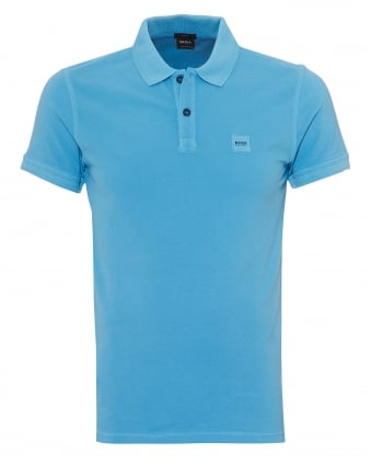 Mens Prime Polo Shirt, Slim Fit Chest Badge Logo Blue Polo