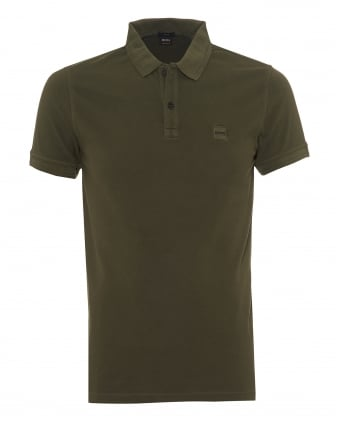 Mens Prime Polo Shirt, Slim Fit Chest Badge Logo Olive Green Polo