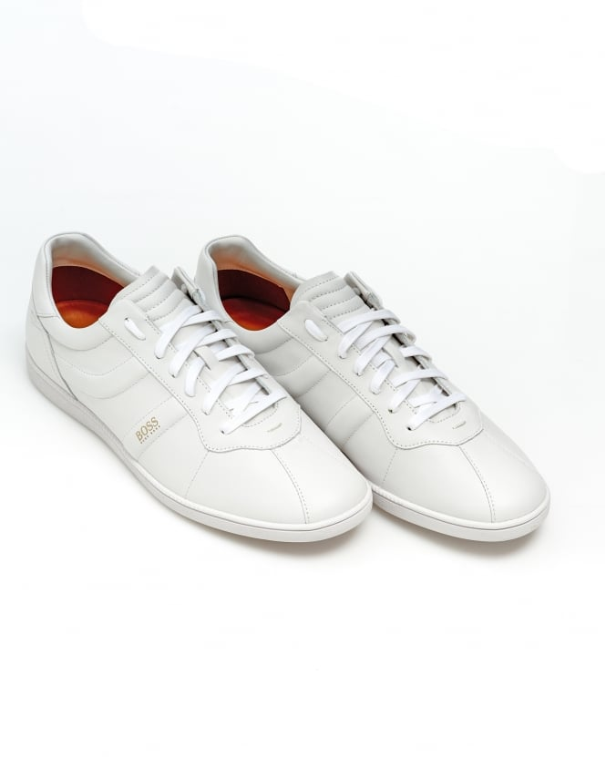 BOSS Casual Mens Rumba Ten Trainers, White Leather Sneakers