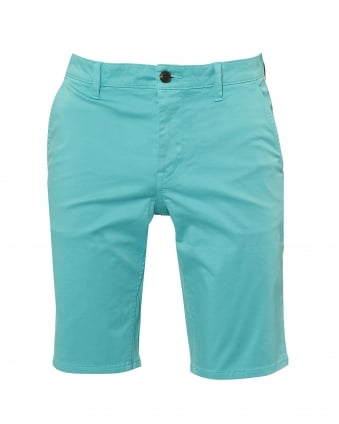 Mens Schino Shorts, Slim Fit Aqua Blue Chino Short