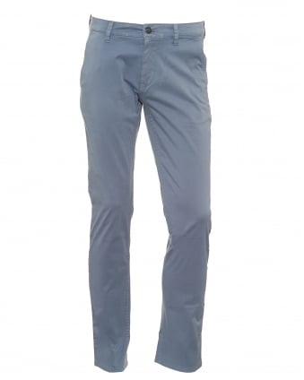 Mens Schino Slim Chinos, Satin Stretch Blue Chinos