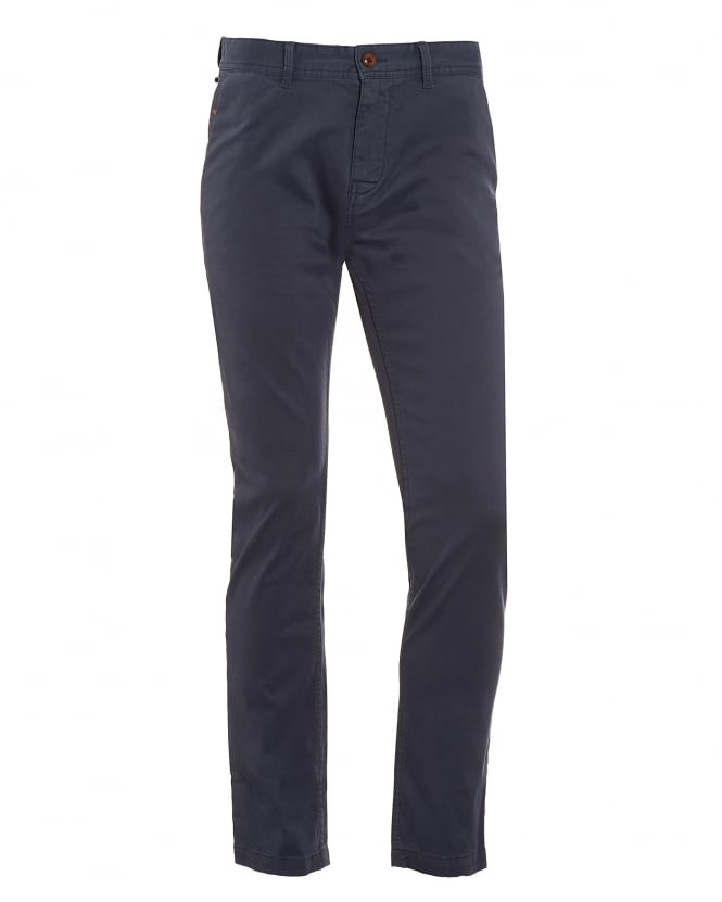Hugo Boss Orange Mens Schino-Slim1-D Chino, Dark Blue Slim Fit Trouser