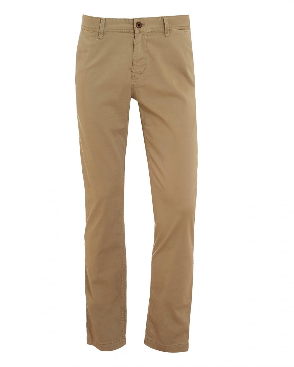 Mens Schino-Slim1-D Chinos, Slim Stretch Cotton Beige Trousers