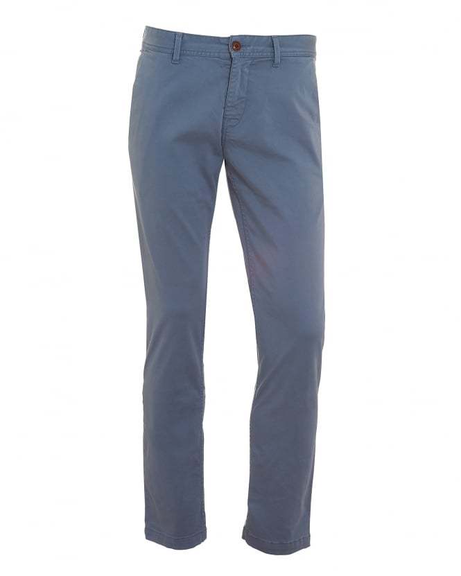 Hugo Boss Orange Mens Schino-Slim1-D Chinos, Slim Stretch Cotton Blue Trousers