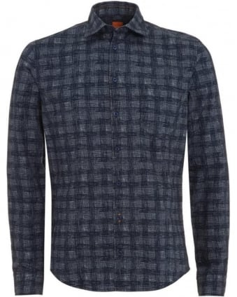 Mens Shirt Dark Blue EnameE Hatched Check Shirt
