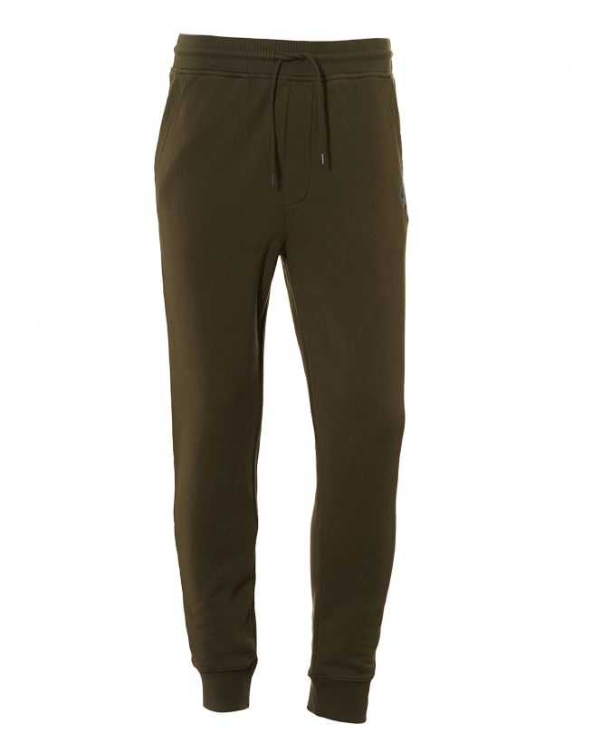 BOSS Casual Mens South UK Cuffed Trackpants, Drawstring Olive Night Sweatpants