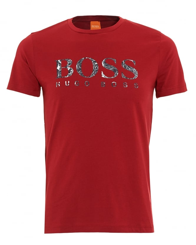 Hugo Boss Orange Mens T-Shirt, Tommi 3 Ice Print Logo Red Tee