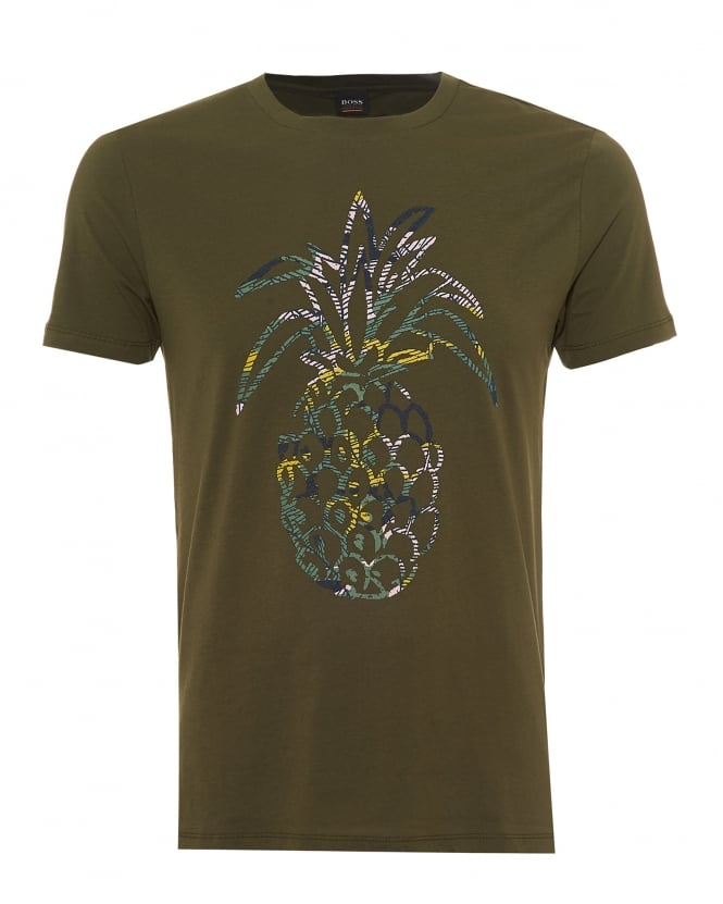 Hugo Boss Orange Mens Tauno 1 T-Shirt, Rubberised Pineapple Print Olive Green Tee