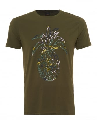 Mens Tauno 1 T-Shirt, Rubberised Pineapple Print Olive Green Tee