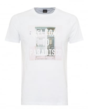 Mens Tauno 3 T-Shirt, Welcome To Paradisco Graphic White Tee