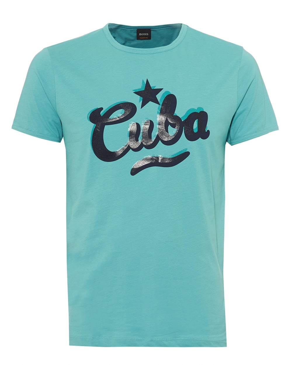Mens Tauno 5 T-Shirt, Slanted Cuba Graphic Aqua Blue Tee