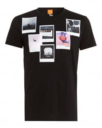 Mens Taxable 1 T-Shirt, Black Regular Fit Polaroid Print Tee
