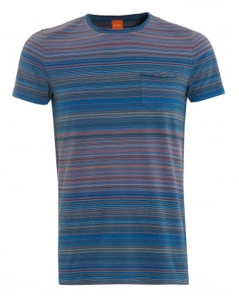 Mens Tedryk T-Shirt, Multi Stripe Blue Tee
