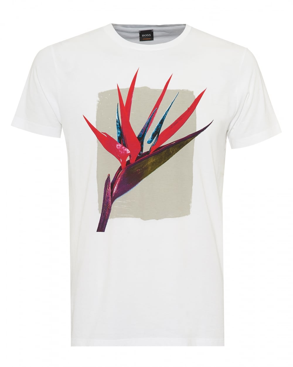Mens Timen 2 T-Shirt, Tropical Flower Graphic White Tee