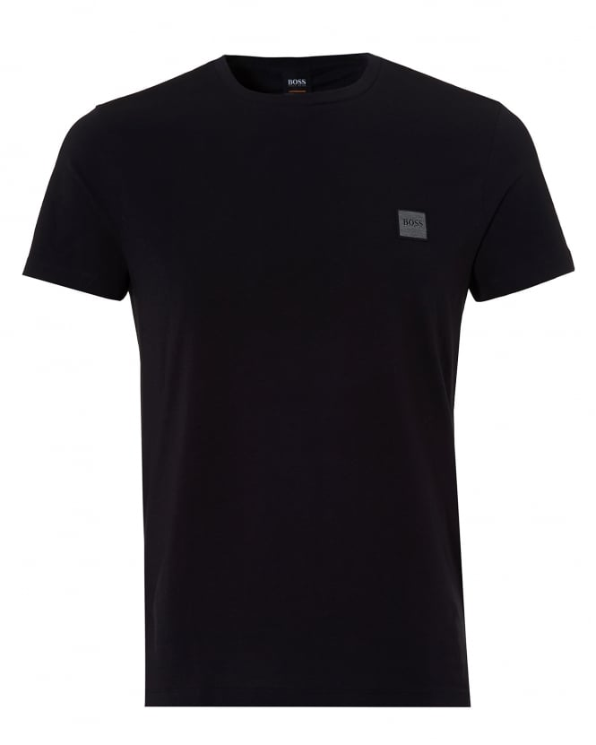 Hugo Boss Orange Mens Tommi Basic Logo T Shirt, Black Short Sleeve Tee