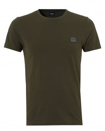 Mens Tommi Basic Logo T Shirt, Green Short Sleeve Tee