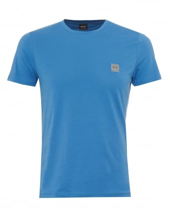 Mens Tommi T-Shirt, Chest Patch Basic Blue Tee