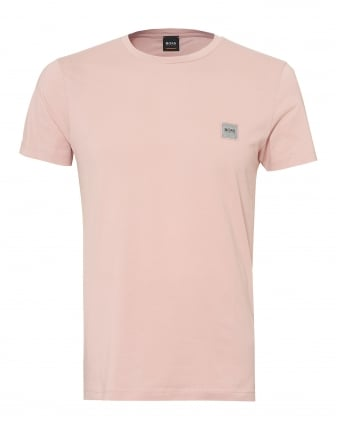 Mens Tommi T-Shirt, Chest Patch Basic Pink Tee