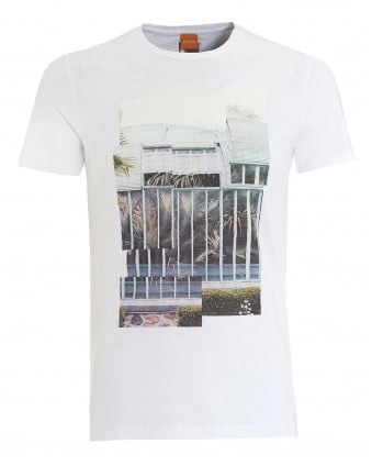 Mens Tonight T-Shirt, Palm Print White Tee