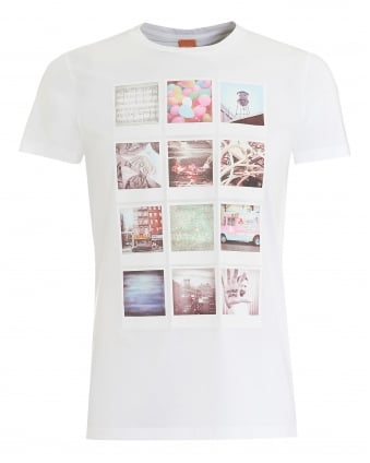 Mens Totally 2 T-Shirt, Polaroid Print White Tee