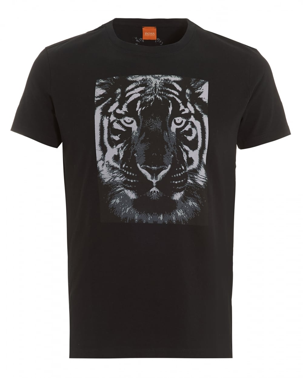 hugo boss orange mens tullian 2 t shirt black tiger print tee. Black Bedroom Furniture Sets. Home Design Ideas