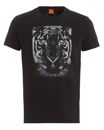Mens Tullian 2 T-Shirt, Black Tiger Print Tee
