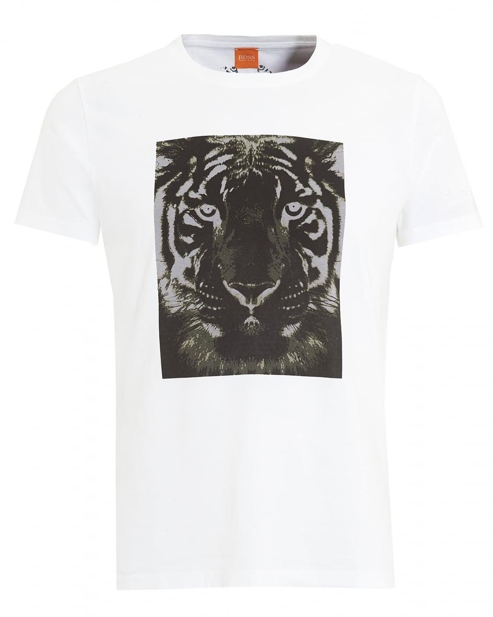 Hugo boss orange mens tullian 2 t shirt white tiger print tee for Boss mens t shirts