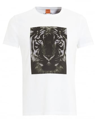 Mens Tullian 2 T-Shirt, White Tiger Print Tee