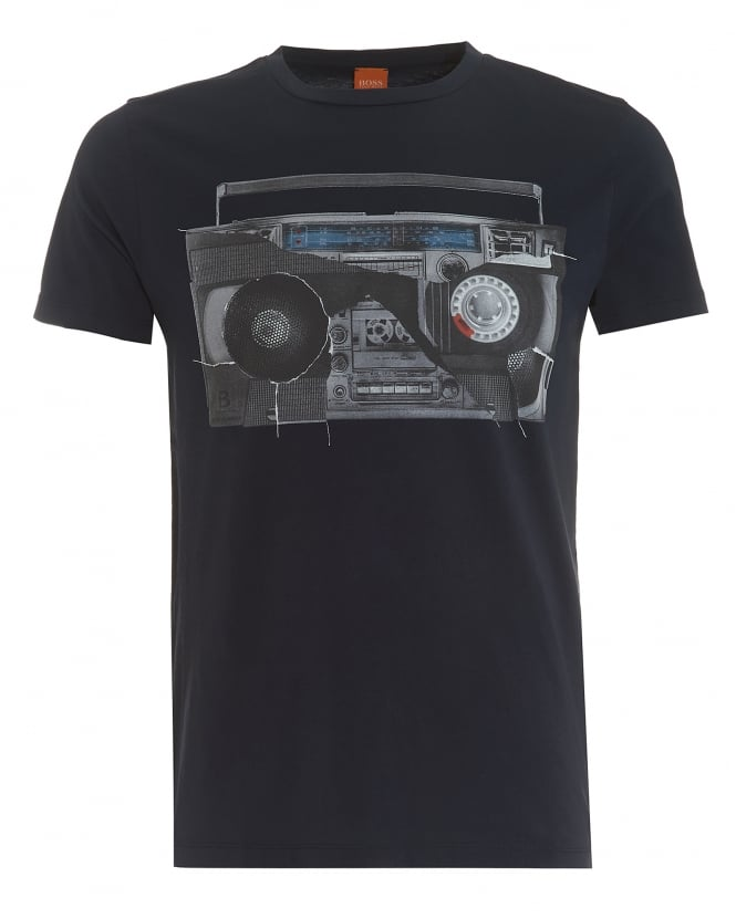 Hugo Boss Orange Mens Turbulence 3 T-Shirt, Retro Radio Print Navy Tee