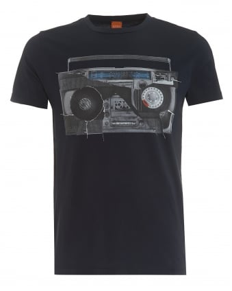 Mens Turbulence 3 T-Shirt, Retro Radio Print Navy Tee