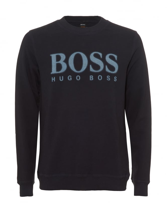 Hugo Boss Orange Mens Walker Sweatshirt, Faded Large Boss Logo Navy Blue Jumper