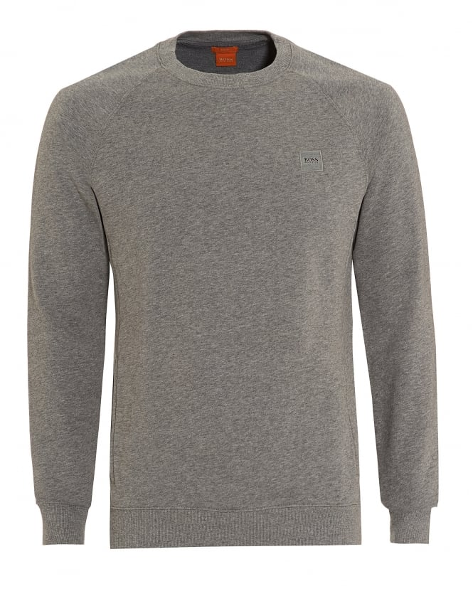 Hugo Boss Orange Mens Wheel Sweat, Plain Patch Logo Grey Sweatshirt