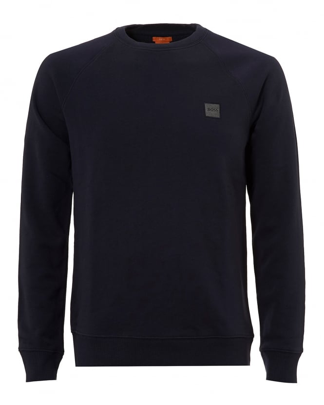 Hugo Boss Orange Mens Wheel UK Sweatshirt, Crew Neck Navy Blue Sweat