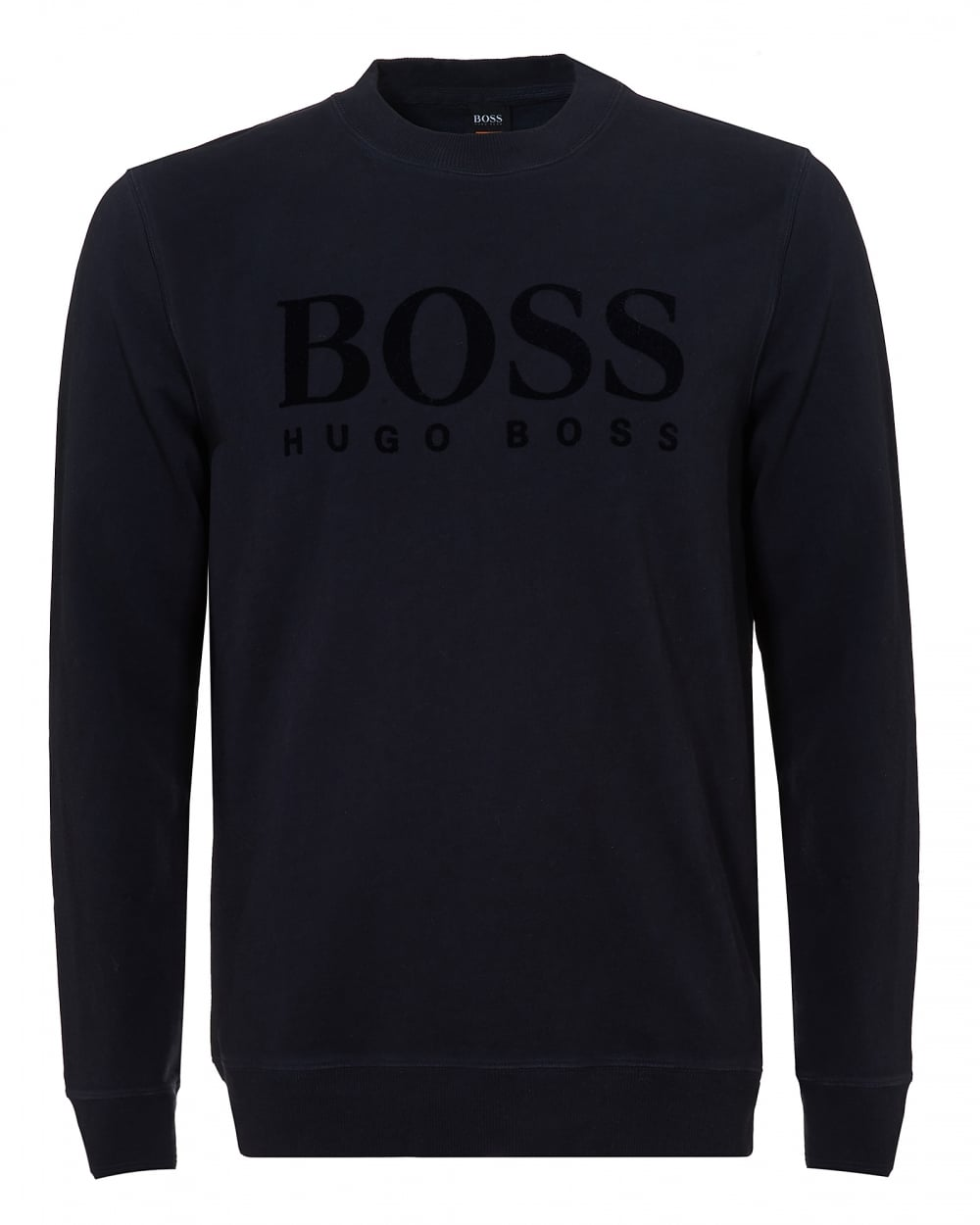 Mens Wlan Sweater, Large Logo Navy Blue Jumper