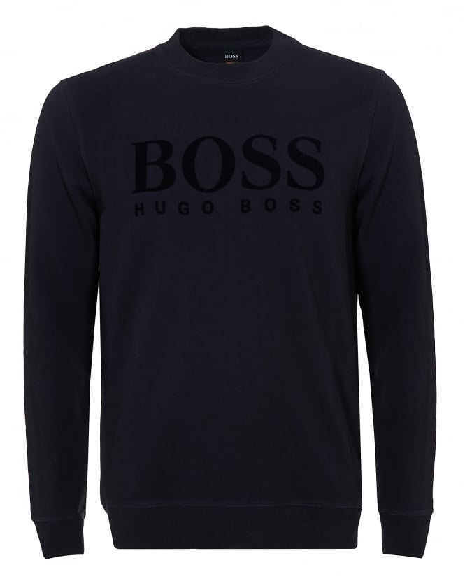 Hugo Boss Orange Mens Wlan Sweater, Large Logo Navy Blue Jumper