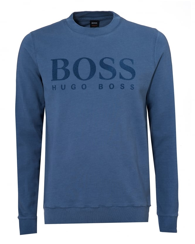 Hugo Boss Orange Mens Wlan Sweater, Large Logo Sky Blue Jumper