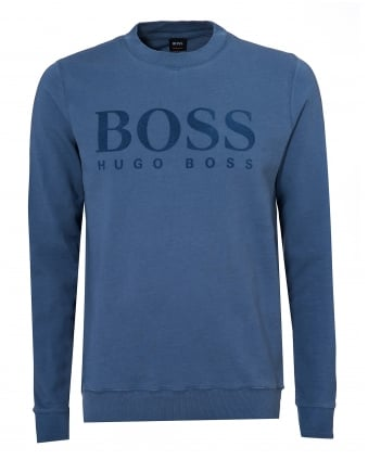Mens Wlan Sweater, Large Logo Sky Blue Jumper